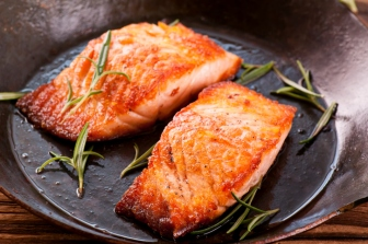Salmon Steak in Fryer